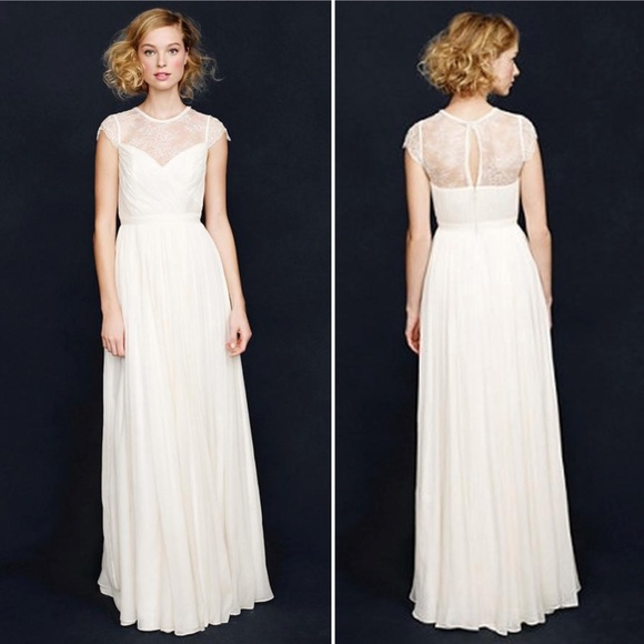 J.Crew Silk Chiffon Beatriz Vintage Wedding Gown